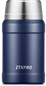 Food Thermos 27 oz, ZTXPRO Insulated Lunch Container for Hot Food, Stainless Steel Wide Mouth Food Jar for Lunch, Leak Proof Soup Containers with Folding Spoon for Kids/Adults - Midnight Blue