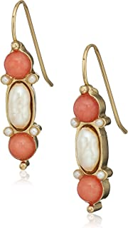 product image for 1928 jewelry 14k gold dipped pearl and semi precious gemstone carnelian drop earrings