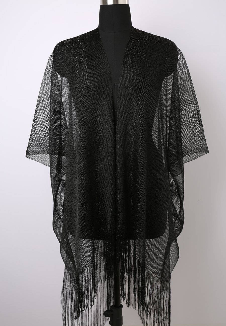 MissShorthair Womens Glitter Open Front Cardigans Sheer Metallic Long Kimono with Tassel by MissShorthair (Image #2)