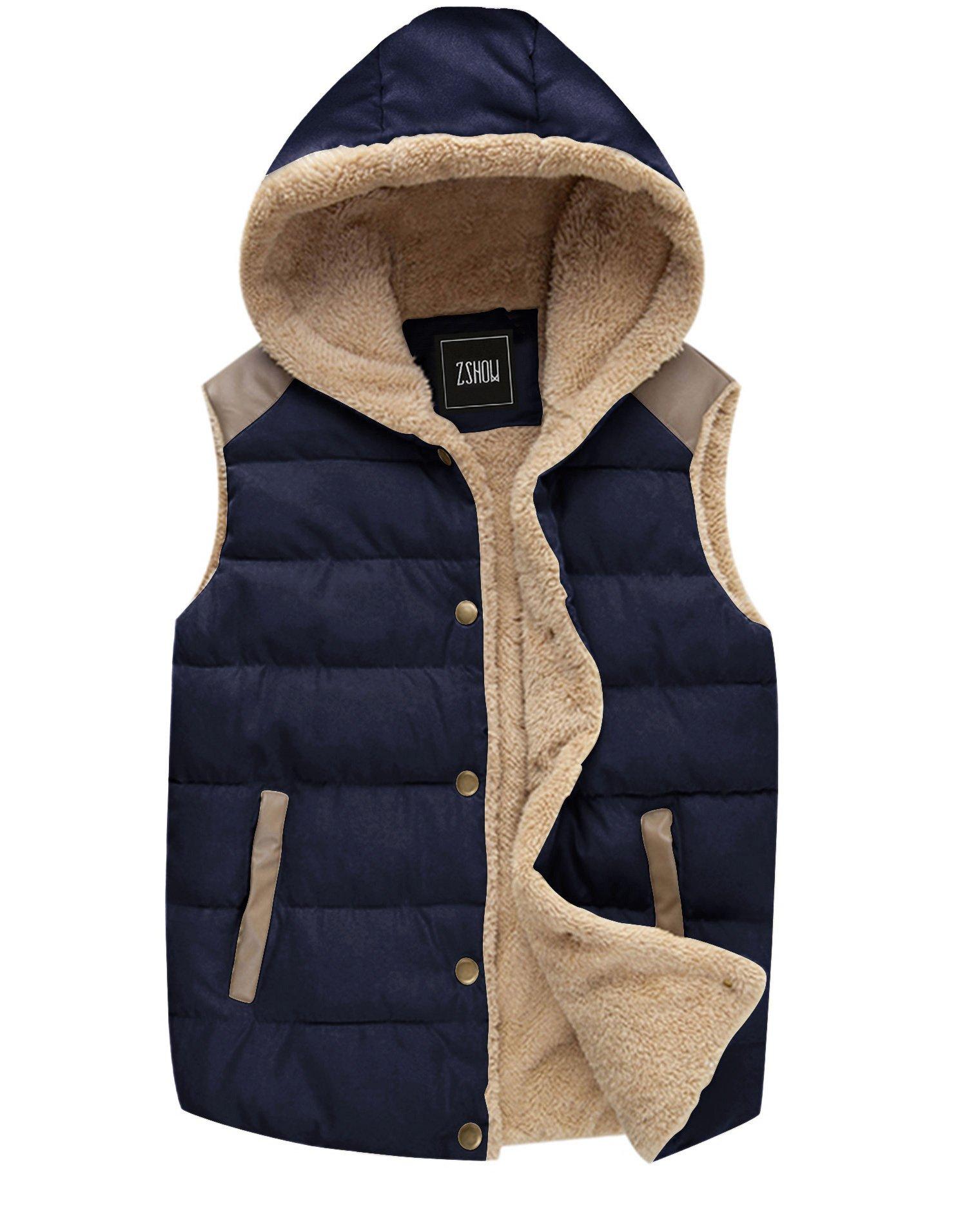 ZSHOW Women's Lightweight Warm Padded Hooded Vest,US-M,Dark Blue by ZSHOW