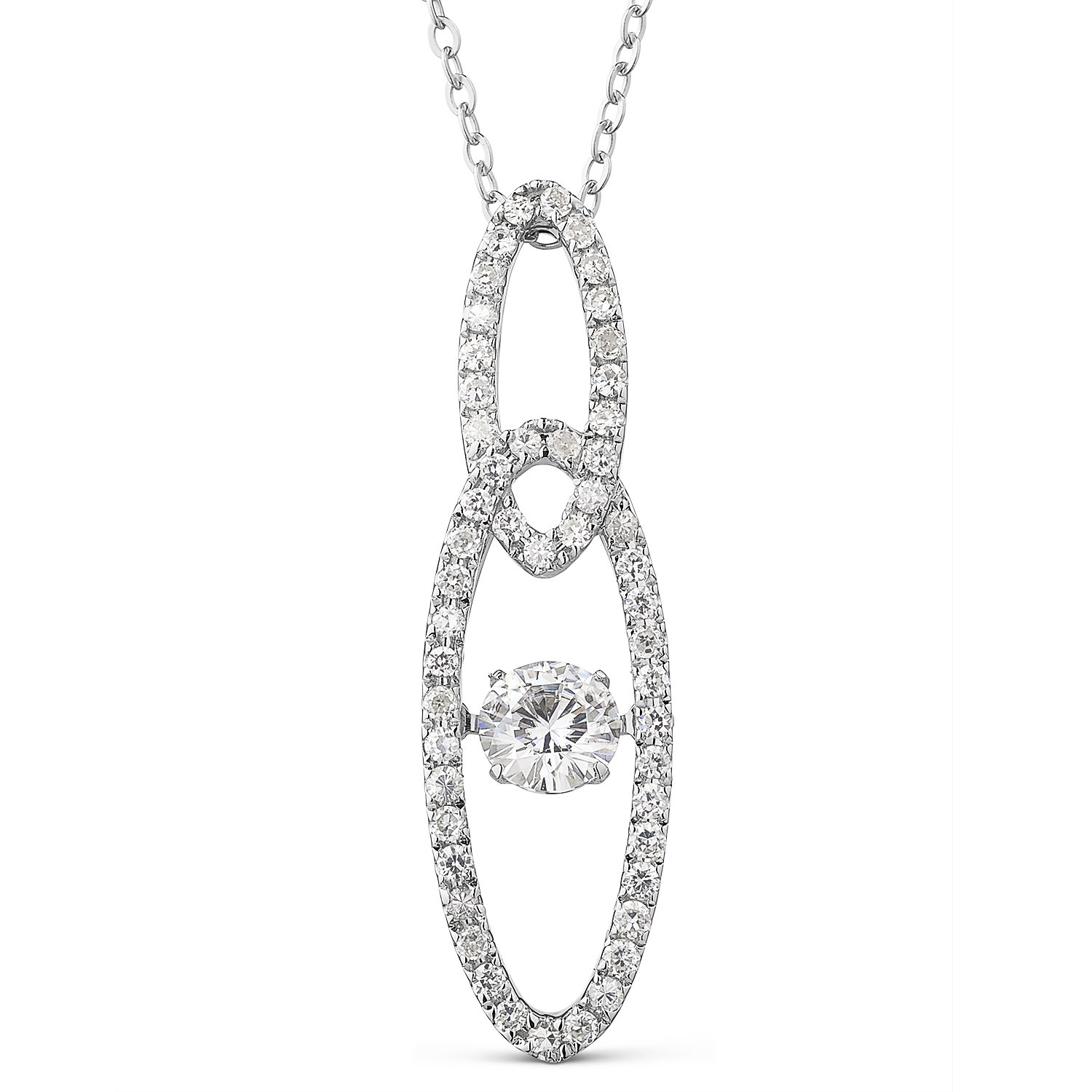 Forever Brilliant White Gold Round 5.0mm Moissanite Pendant Necklace, 0.87ct DEW By Charles & Colvard
