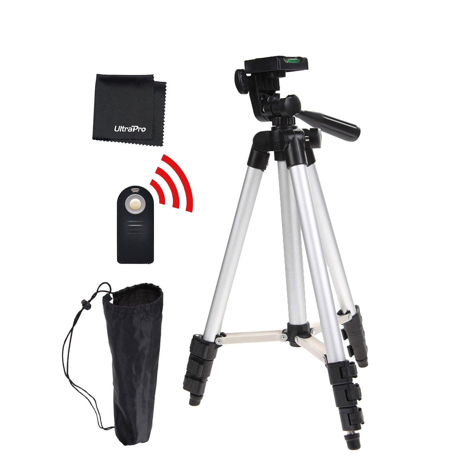 UltraPro 50'' Inch Full Size Aluminum Camera Tripod + Wireless Remote Bundle for Nikon Digital Cameras, Includes UltraPro Bonus Microfiber Cleaning Cloth