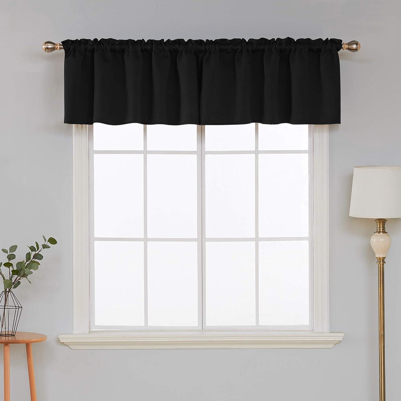 Deconovo Valances for Window Kitchen Valance Rod Pocket Blackout Valance Short Curtain 52x18 Inch Black 1 Panel