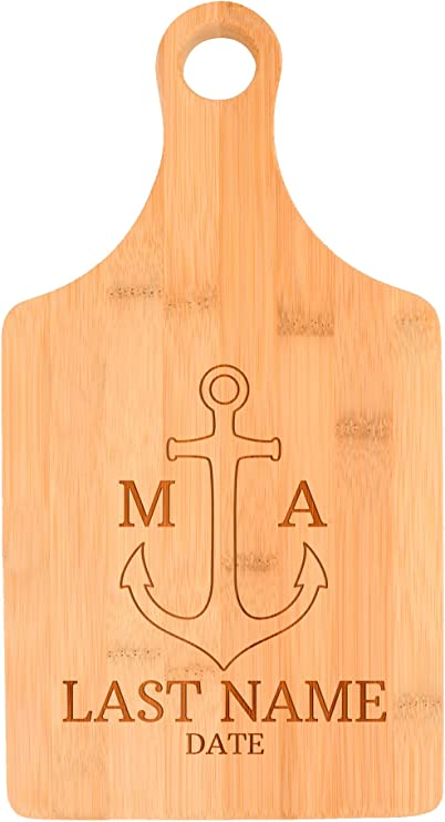 Customized Nautical Anchor Last Name Engagement Gift Personalized Paddle Shaped Bamboo Cutting Board