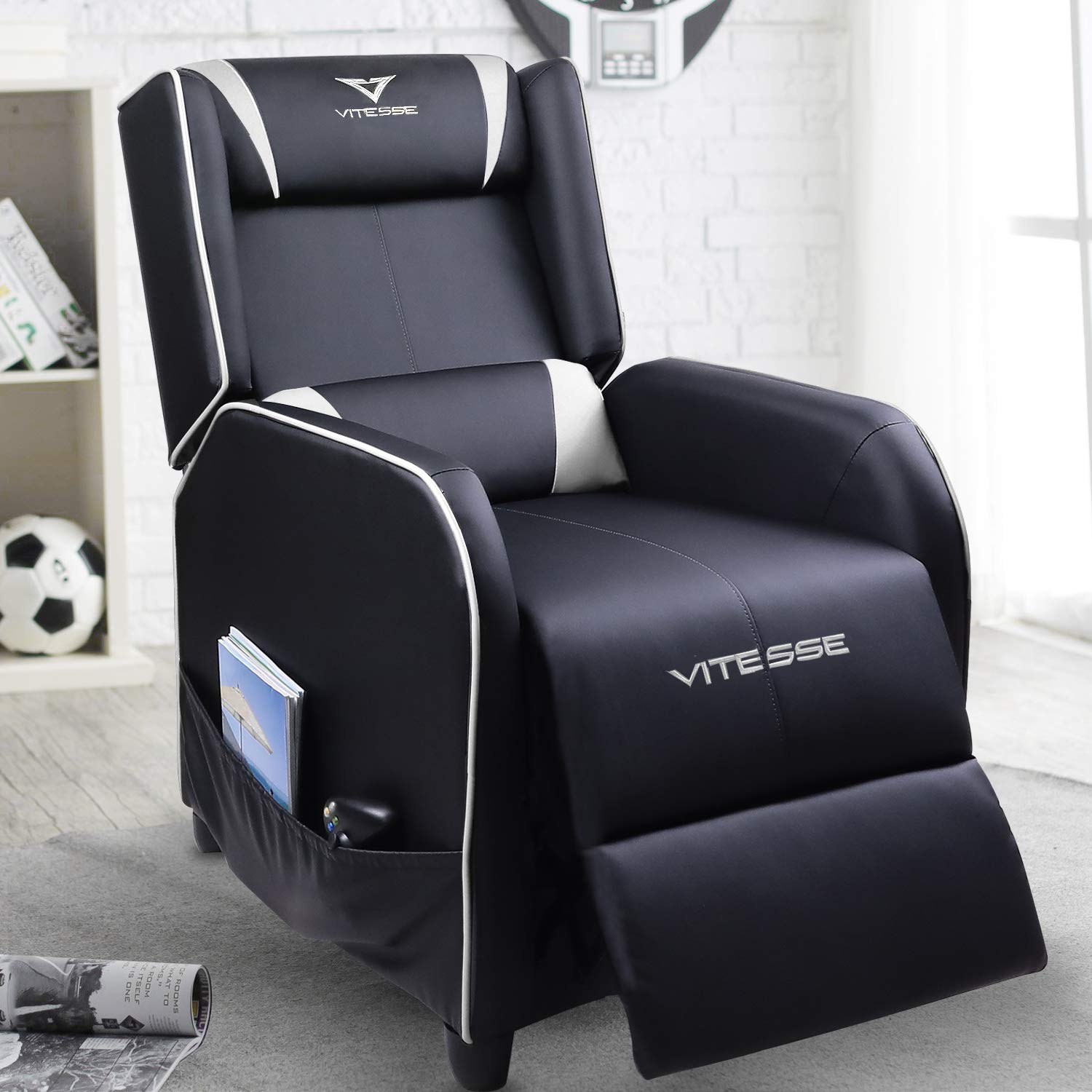 VIT Gaming Recliner Chair Racing Style Single PU Leather Sofa Modern Living Room Recliners Ergonomic Comfortable Home Theater Seating (White) by Vitesse