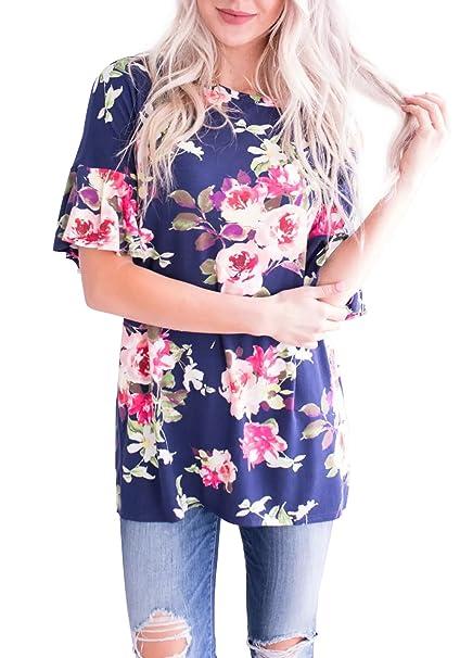 bea238f515e78d Women Summer Flare Sleeve Floral Casual Tunic Top Tee Shirt Blouse Deep  Blue S