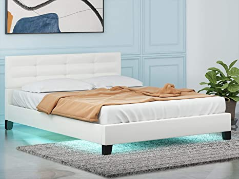 Lagrima Modern Queen Size Led Bed White Upholstered Faux Leather Bed With 8 Color Changing Led Light 2 8 Inch Solid Wooden Slats Support White Queen Kitchen Dining