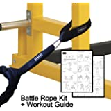 Battle Rope Anchor Strap Kit (Pair) For Exercise Crossfit Training Works with 30 40 or 50 Ft and 1.5 or 2 inch Diameter Rope For Abrasion Protection with Heavy Duty Carabiner Includes Workout Guide