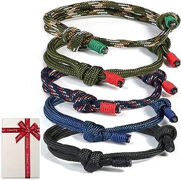 Set de 5 pulseras trenzadas para hombre mujer,pulsera de surf náutica colorida con cordón de cuerda marina para hombres,niños,pulseras ajustables hechas a mano con cuerdas de cuerda azul marino regalo: Amazon.es: Juguetes