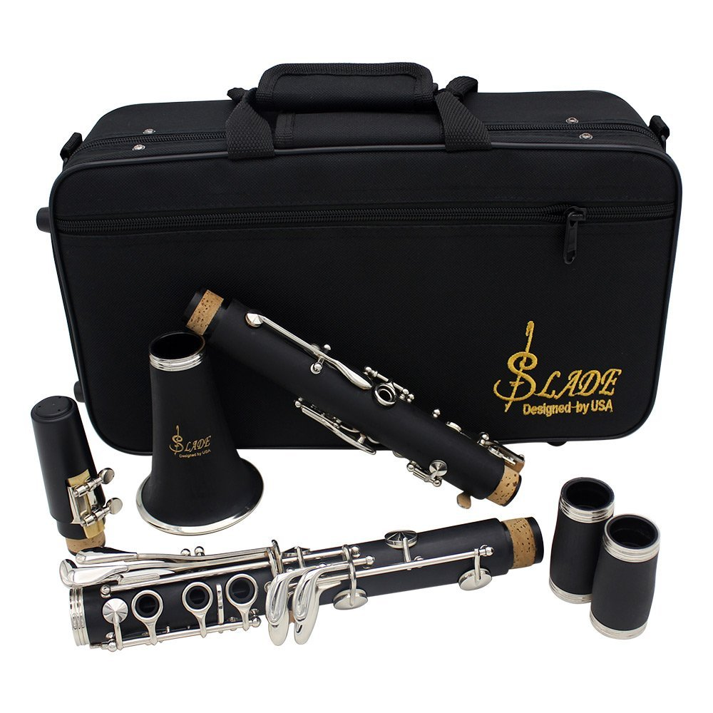 LADE Clarinet ABS 17 Key bB Flat Soprano Binocular Clarinet with Cork Grease Cleaning Cloth Gloves 10 Reeds Screwdriver Reed Case Woodwind Instrument Slade