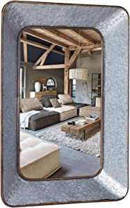 Geloo Galvanized Mirror for Bathroom- 28 Inch Rustic Wall Decor Accent Mirrors Rectangle Wall Mounted Mirrors for Wall Decor for Farmhouse,Bedroom, Antique,Dining Room,Hallway,Living Room