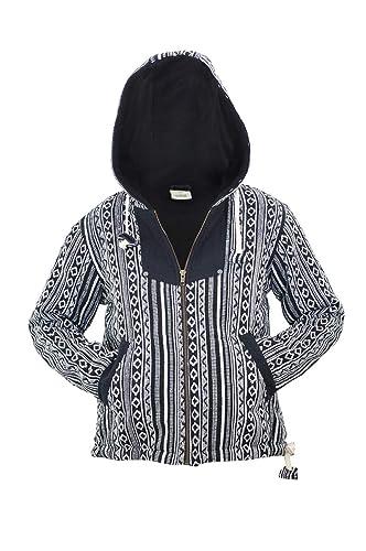 virblatt - Baja Hoodie Hippie Jacket Womens Fleece Jacket Warm Jacket Mexican Hoodie - Bhutan at Amazon Womens Clothing store:
