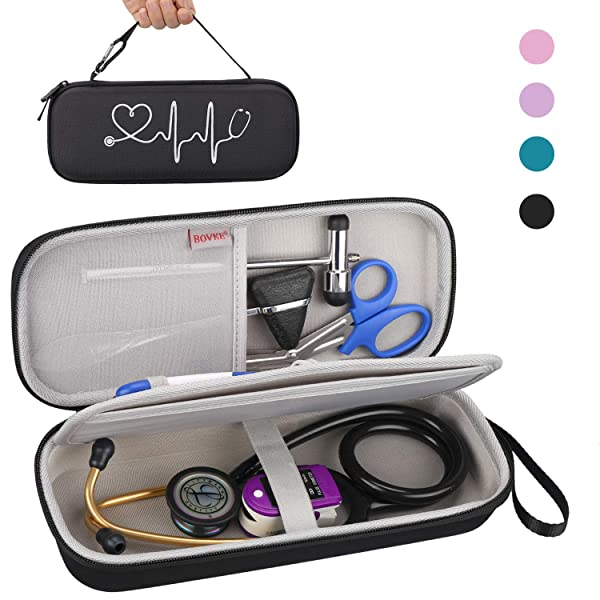 BOVKE Travel Case for 3M Littmann Classic III, Lightweight II S.E, Cardiology IV Diagnostic, MDF Acoustica Deluxe Stethascopes - Extra Room for Taylor Percussion Reflex Hammer and Penlight (Black) (Color: Black)