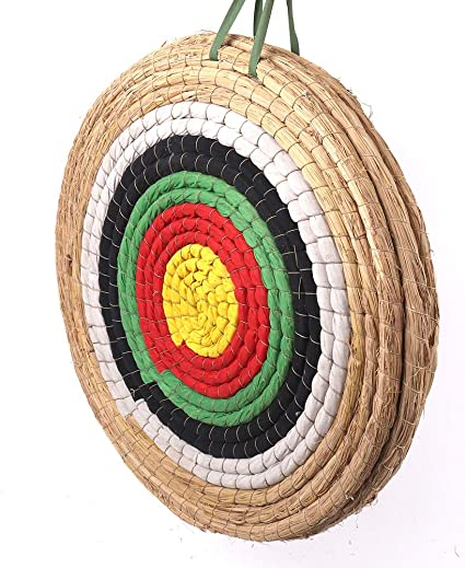 Funtress Traditional Solid Straw Round 3 Layers Hand Made Archery Target Face for Recurve Bow Longbow Shooting Practice with 5 Paper Target Face