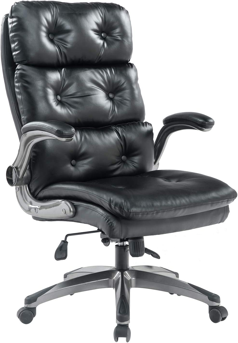 BOSMILLER Office Chair High Back Leather Executive Computer Desk Chair - Adjustable Tilt Angle and Flip-up Arms Swivel Chair Thick Padding for Comfort and Ergonomic Design for Lumbar Support, Black