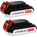3.0Ah LBXR20 Replacement for Black and Decker 20V Battery Max Lithium LBXR20-OPE LB20 LBX20 LB2X4020-OPE LST220 Cordless Power Tool 2 Pack