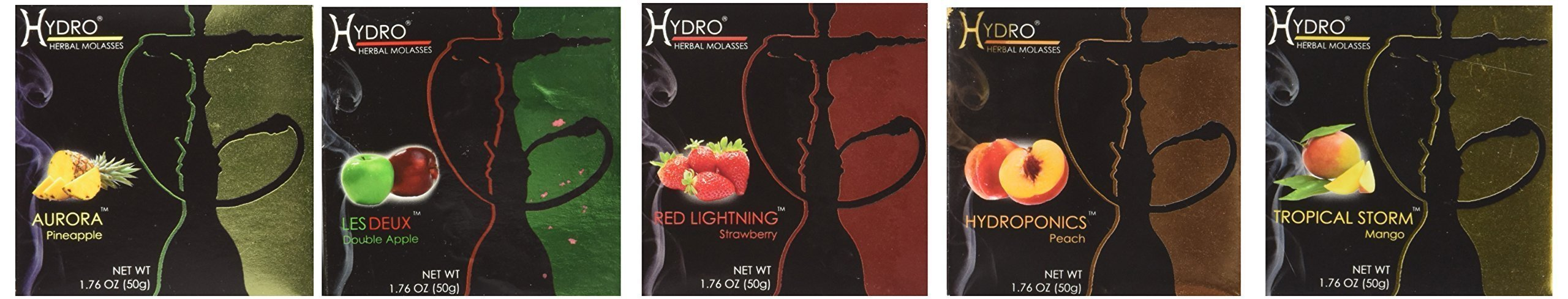 Hydro Herbal 250g, 5 Mix: Apple, Strawberry, Mango, Peach & Pineapple, Hookah Shisha Tobacco Free Molasses