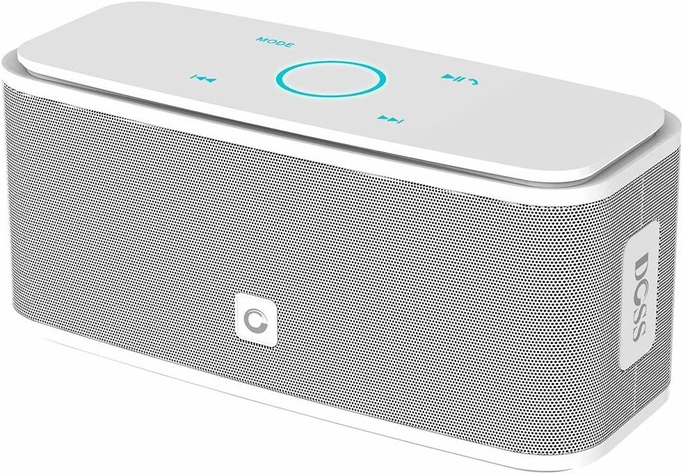 DOSS SoundBox - Altavoz Bluetooth con Tacto Sensible, Potente Subgrave 12W,Doble Controlador Integrado,12 Horas de Reproducción Continua y Manos Libres(Blanco)
