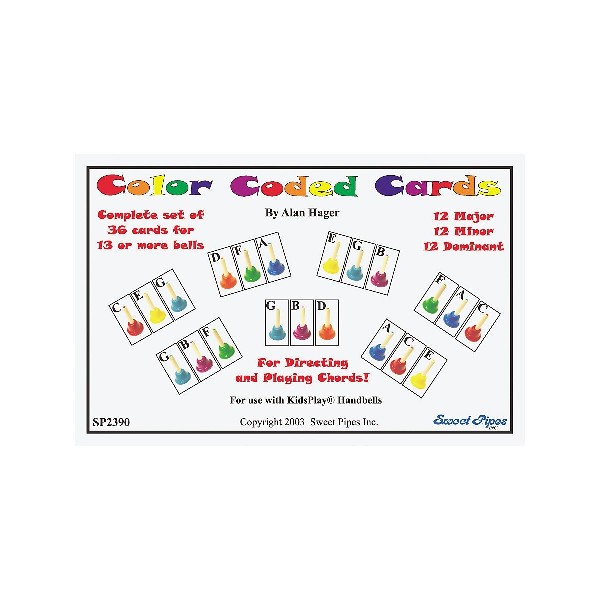 amazon com rhythm band color coded handbell cards 36 chords