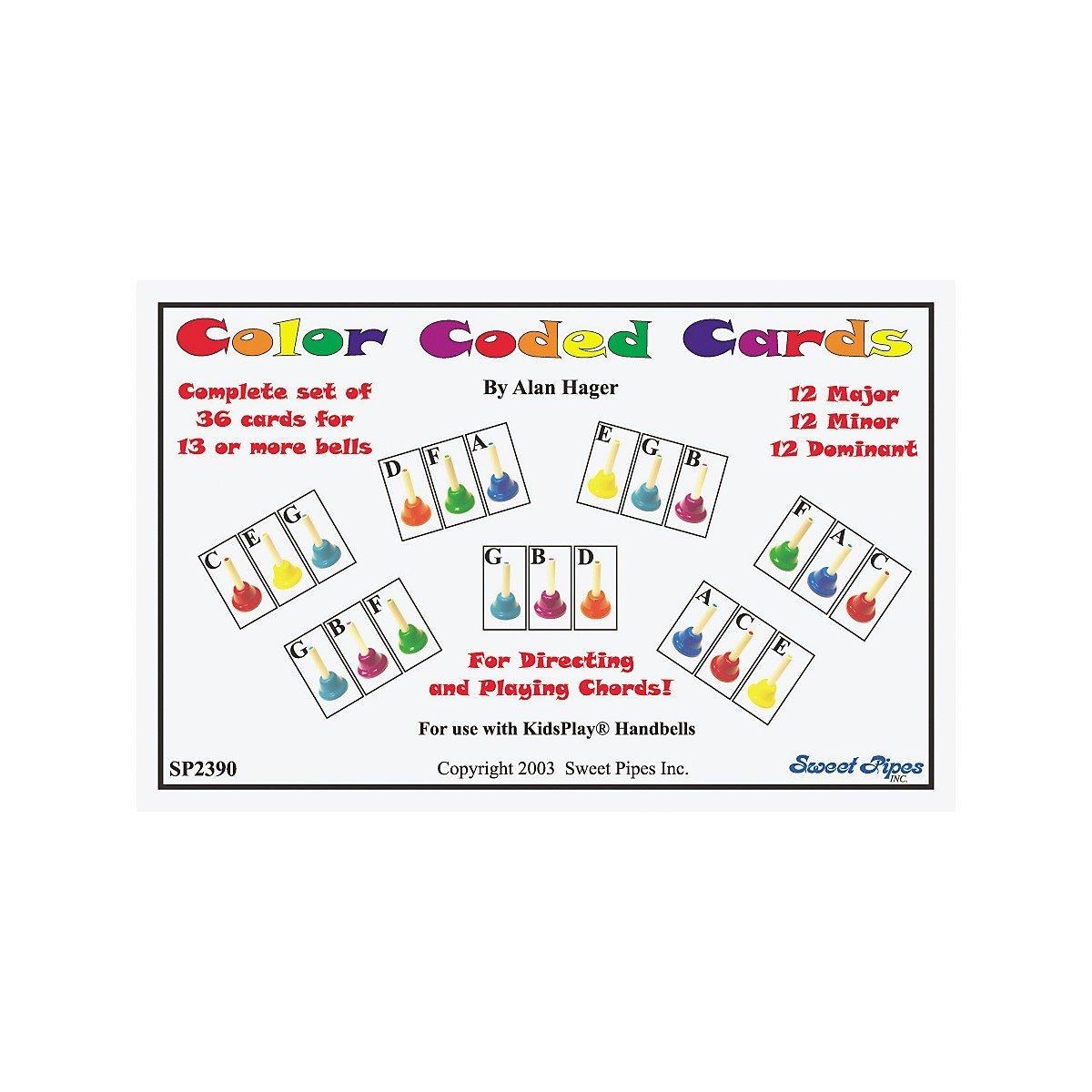 amazon com rhythm band color coded handbell cards 36 chords
