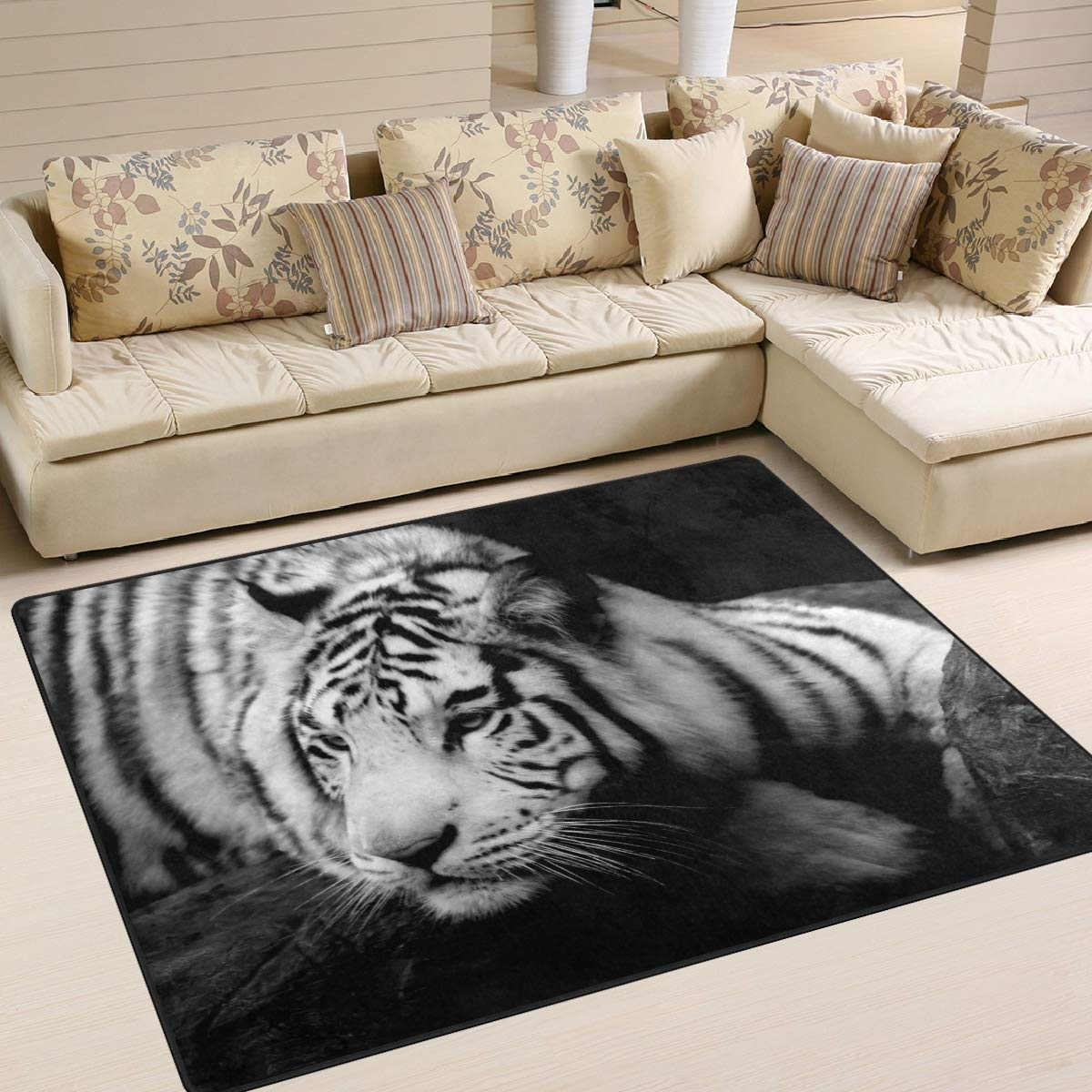 ALAZA Tiger on Ledge Area Rug Rugs for Living Room Bedroom 5'3 x 4' g3107276p147c162s244