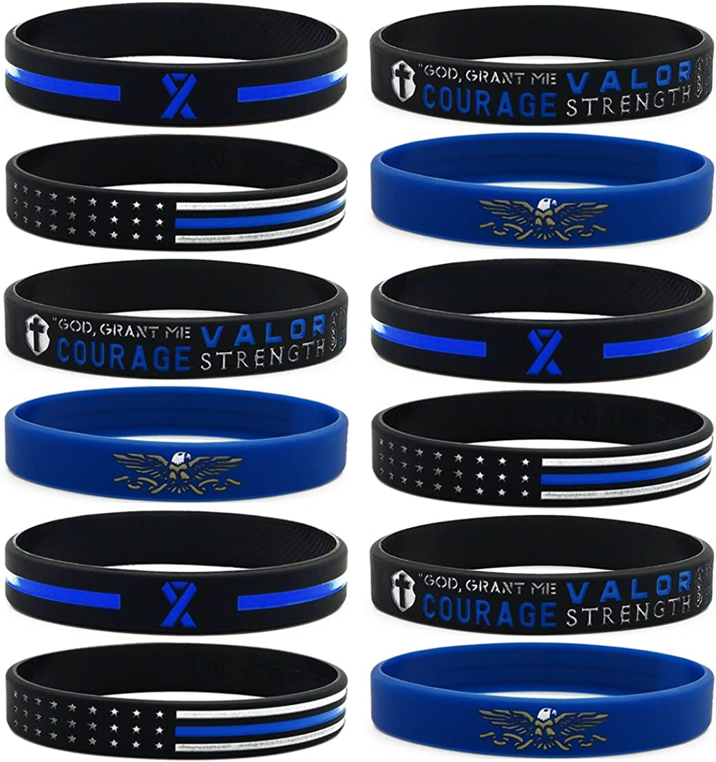 Inkstone (12-Pack) Law Enforcement Silicone Bracelets Assortment - Wholesale Bulk Products Gifts for Police Officers Cops