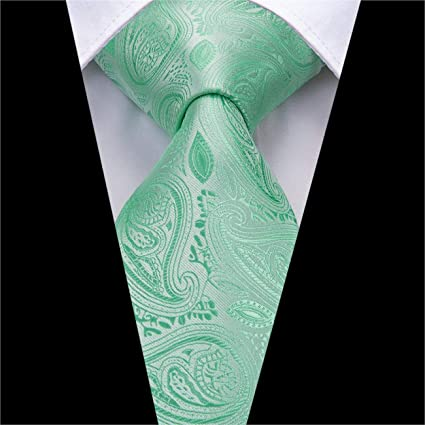 Corbatas de seda para hombres Corbata verde menta Paisley Jacquard ...
