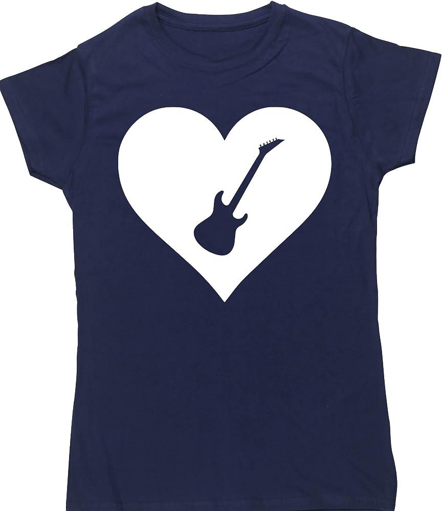 Hippowarehouse Corazón Guitarra Camiseta Manga Corta Ajustada para ...
