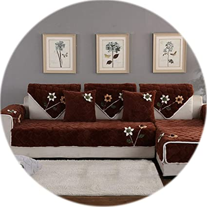 Amazon.com: HANBINGPO Korean Floral Applique Wine red Sofa ...