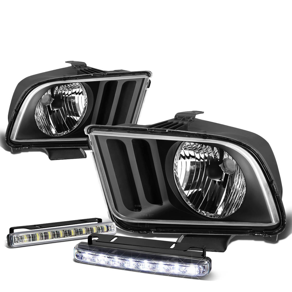 For Ford Mustang 5th Gen Pony Black Housing Clear Corner 1988 Fog Lights Headlight Drl 8 Led Light Automotive
