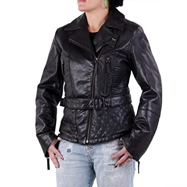 Blauer USA Damen Winter Lederjacke Black 0693 Größe L