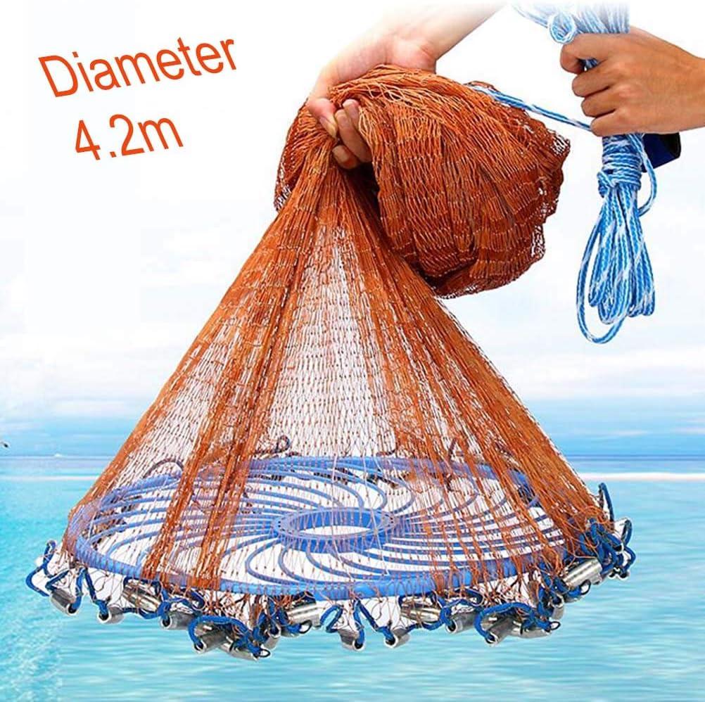 4.2M Fishing Net Bait Easy Throw Hand Cast 3//4 Inch Strong Nylon Mesh with Sinker Jbsceen 2.4M