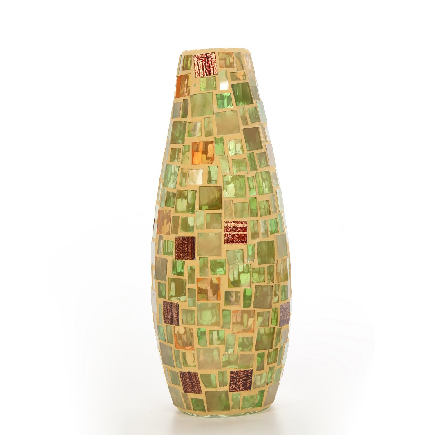 Hosley Mosaic Cream Glass Vase- 11.8'' High. Ideal Gift for Weddings, Spa, Flower Arrangements P2