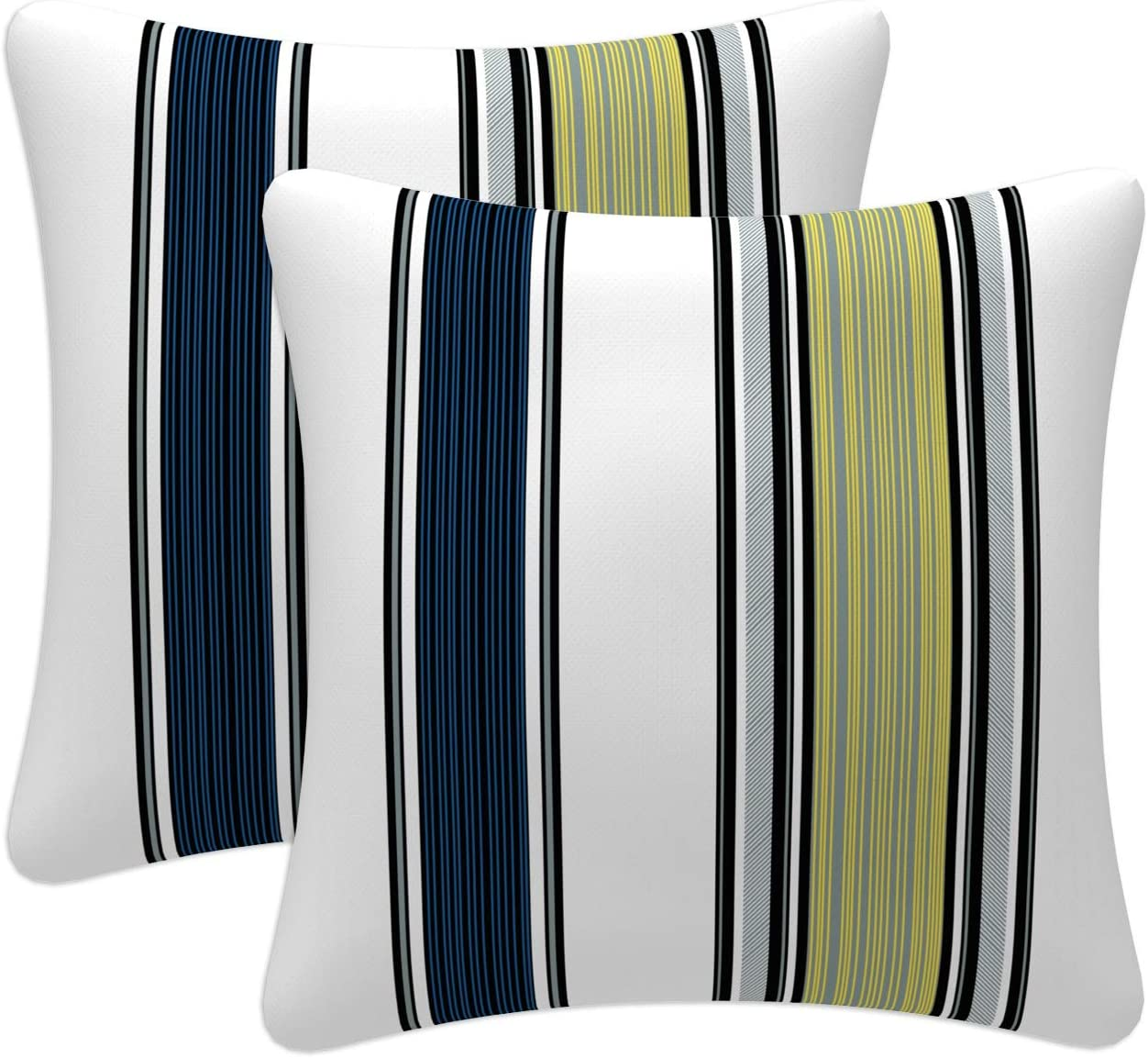 Decorative Throw Pillow Fits 18x18 Insert Dots Stripes Amagansett Beachcomber Blue White Throw Pillow Cover with Invisible Zipper
