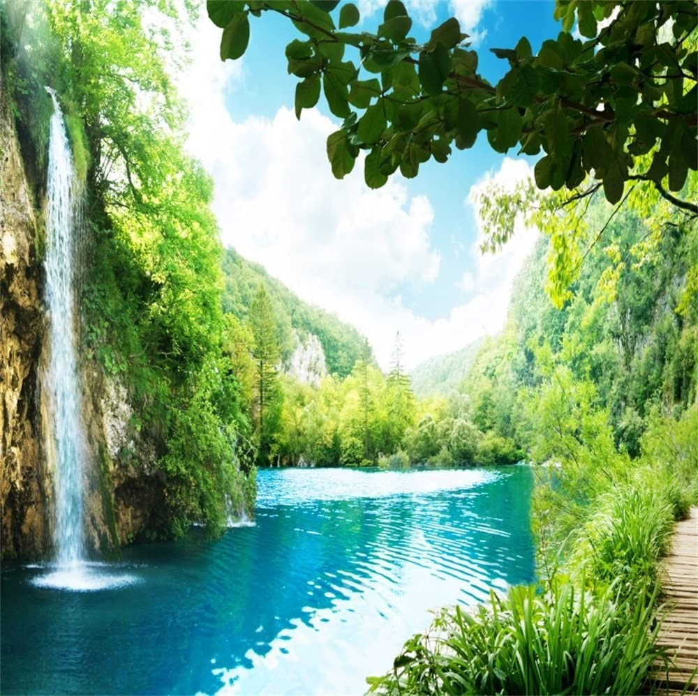 Amazon Com Lfeey 5x5ft Polyester Waterfall Nature Scenery Backdrop For Photographers Beautiful Mountain Lake Falls Natural Photography Background Photo Studio Props Video Drapes Wallpaper No Wrinkle Camera Photo