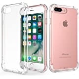 iPhone 7 Plus / iPhone 8 Plus Case, Elove Crystral Clear / Ultra-Slim / Shock Absorbing Case Cover [Hard PC + Soft TPU] Non-Slip Grid Back Cover for Apple iPhone 7 Plus (2016) / iPhone 8 Plus (2017) - Clear
