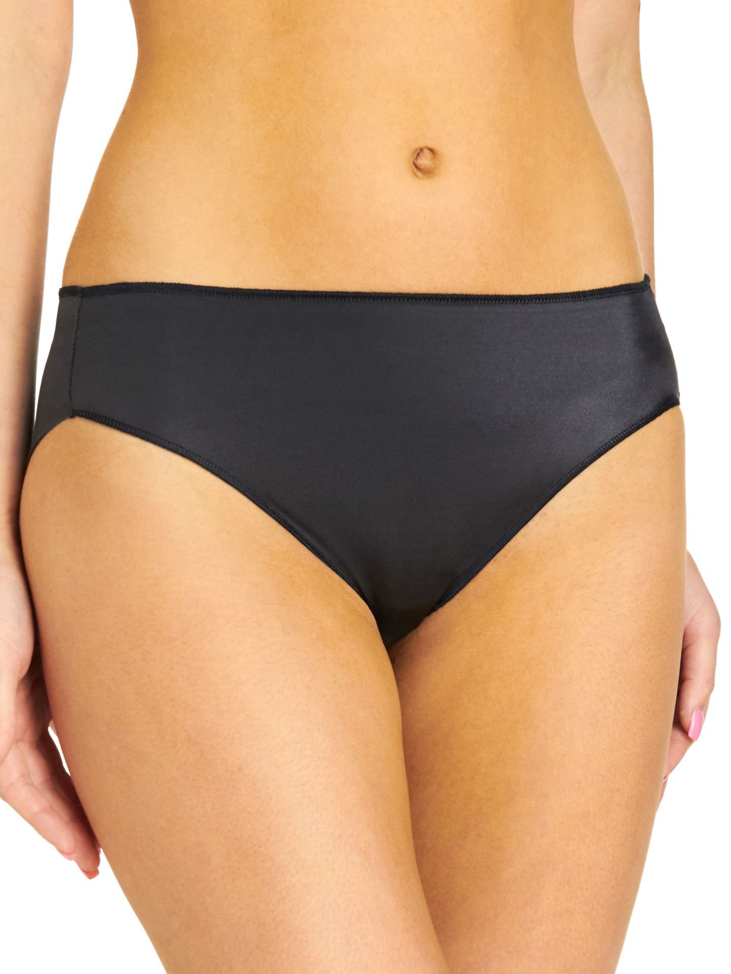 TC Fine Intimates Women's TC Edge Microfiber Hi-Cut Brief A404 Black Briefs LG