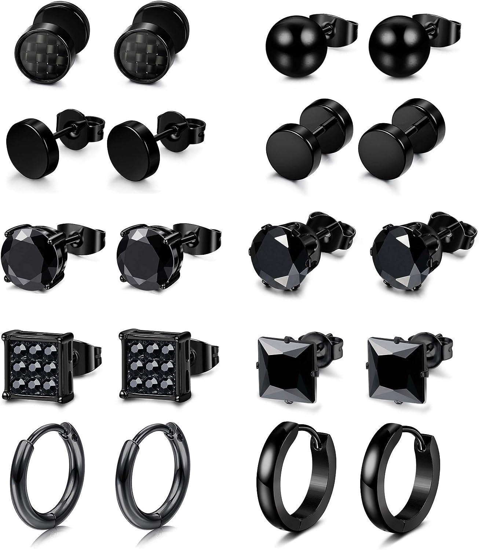 Hanpabum 10 Pairs Stainless Steel Stud Earrings for Women Men Barbell Earrings 6mm CZ Stud Endless Hoop Earrings Set, Fashion Jewelry Set