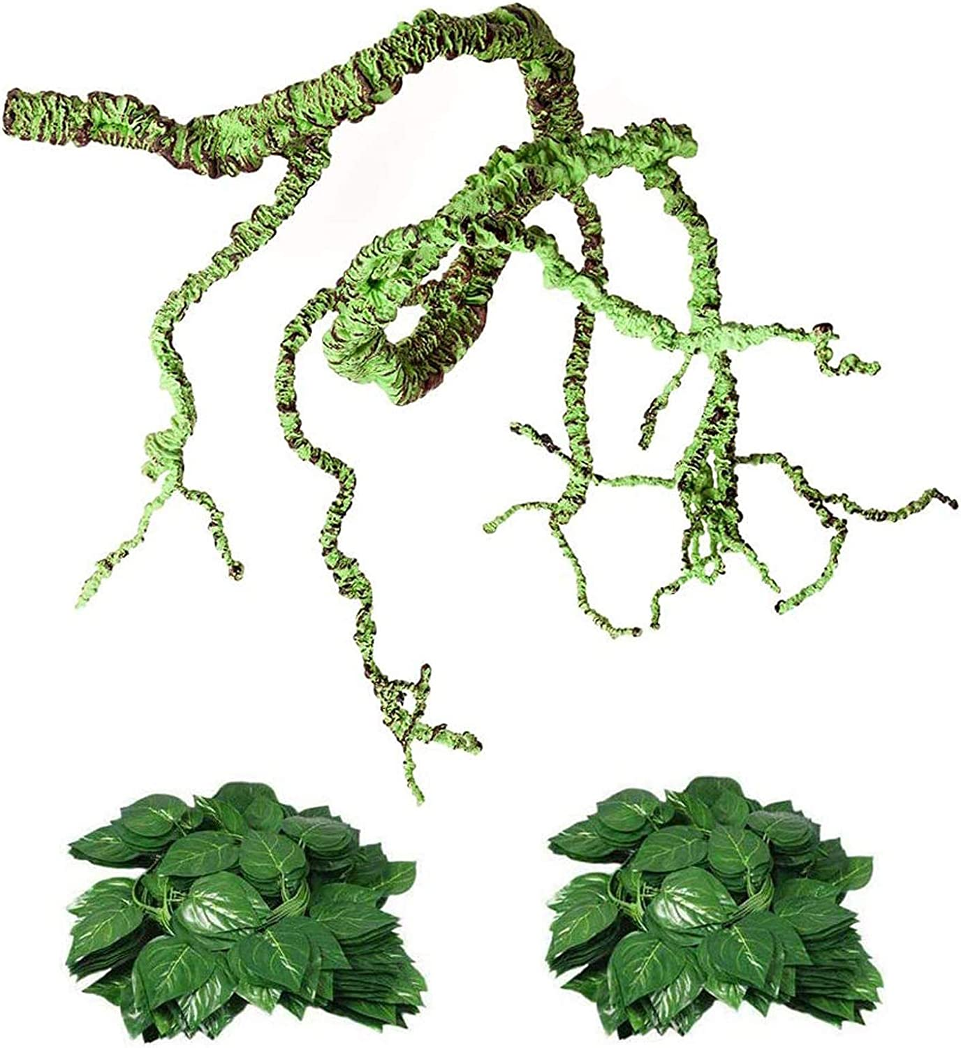Flexible Bend-A-Branch Jungle Vines Plastic Terrarium Plant Leaves Pet Habitat Decor for Lizard,Frogs, Snakes and More Reptiles(Pack of 3) (Reptile Vines)