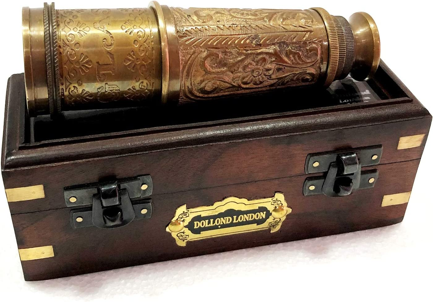 Nautical Full Engraving Antique Telescope With Engraved Leather Spy Glass Scope
