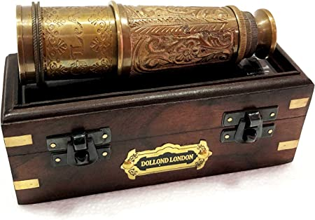 Antique Spyglass Leather Engraving Scope Pirate Vintage Gift Brass Telescope