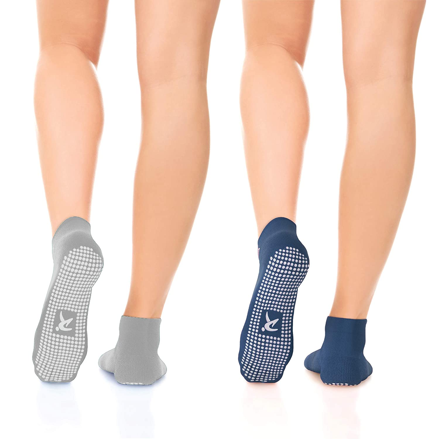 Rymora Non Slip Grip Socks for Women and Men Barre /& Home Trampoline Yoga 2 Pairs - Perfect for Hospital