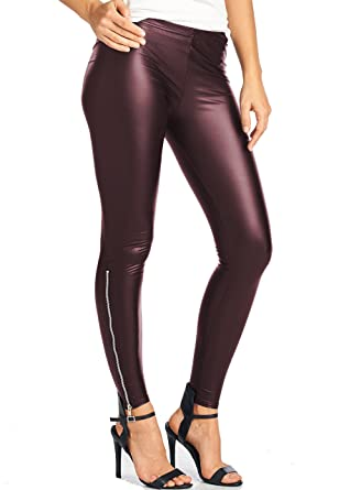 LeggingsQueen Ankle Zip Faux Leather Leggings at Amazon Women's ...