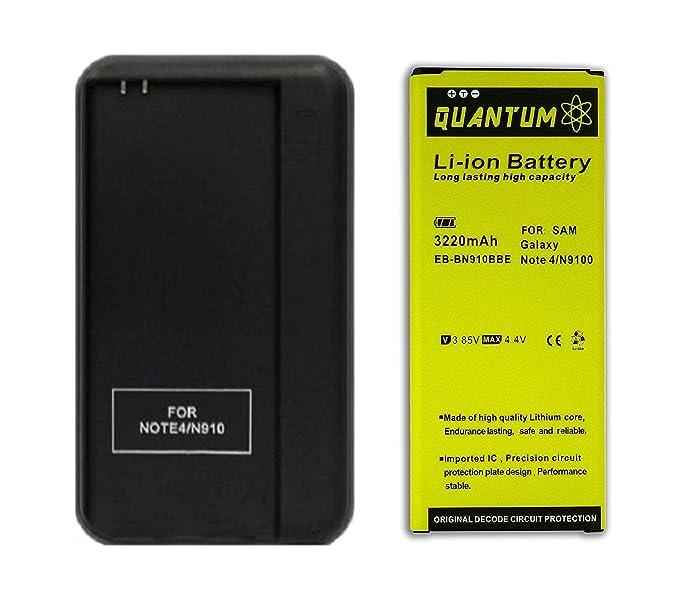 Batería Quantum para Samsung Galaxy Note 4 + Cargador de Pared USB, 3220 mAh Batería de Litio para el Note 4 N910, N910U LTE, N910A, N910V, N910P, ...