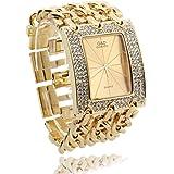 FACILLA® Damen Armband Uhr Damenuhr Armbanduhr Quarzuhr Legierung Goldfarbig mit Strass