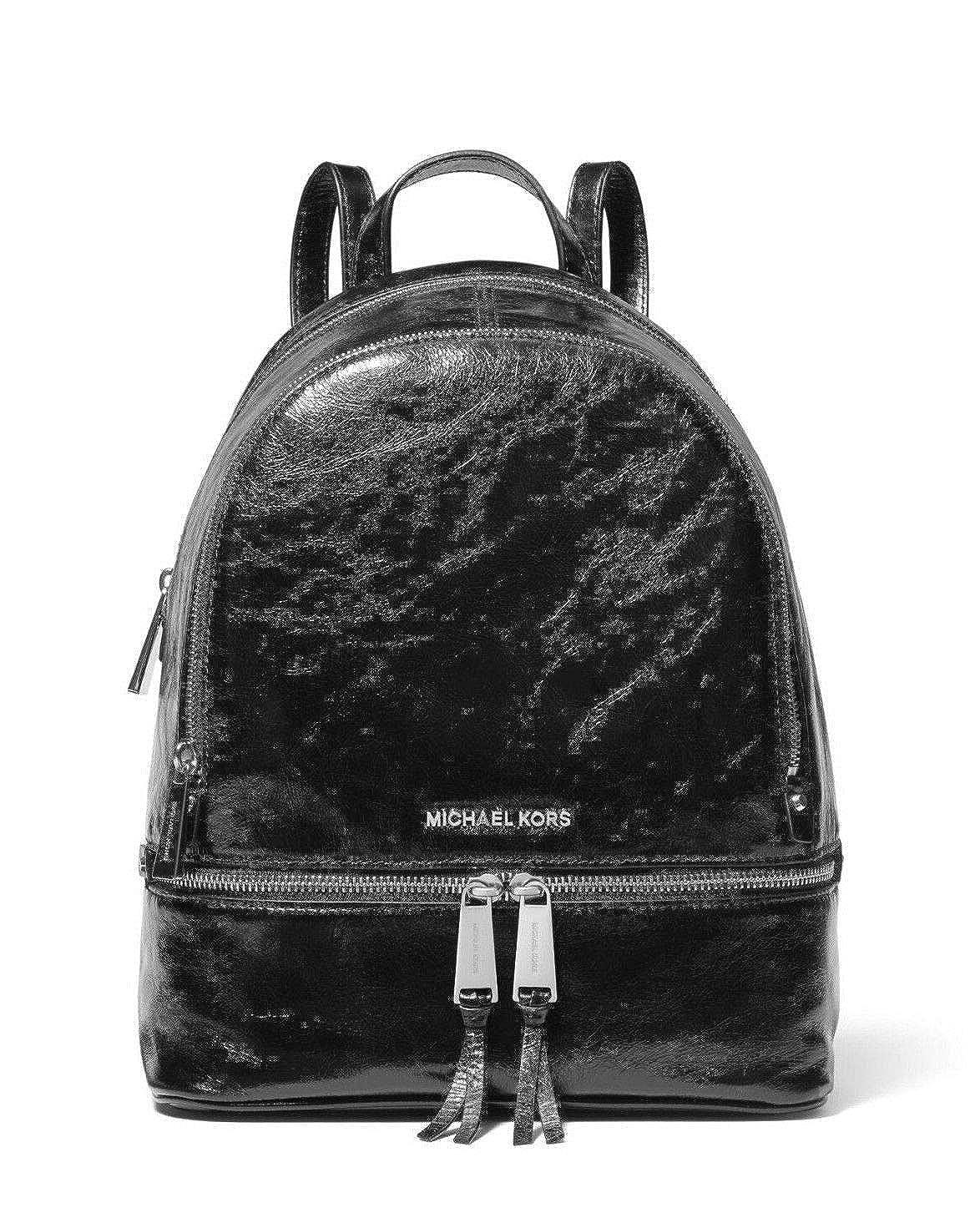 1304dbe8869a Amazon.com: MICHAEL Michael Kors Rhea Medium Crinkled Calf Leather Backpack  in Black: Shoes