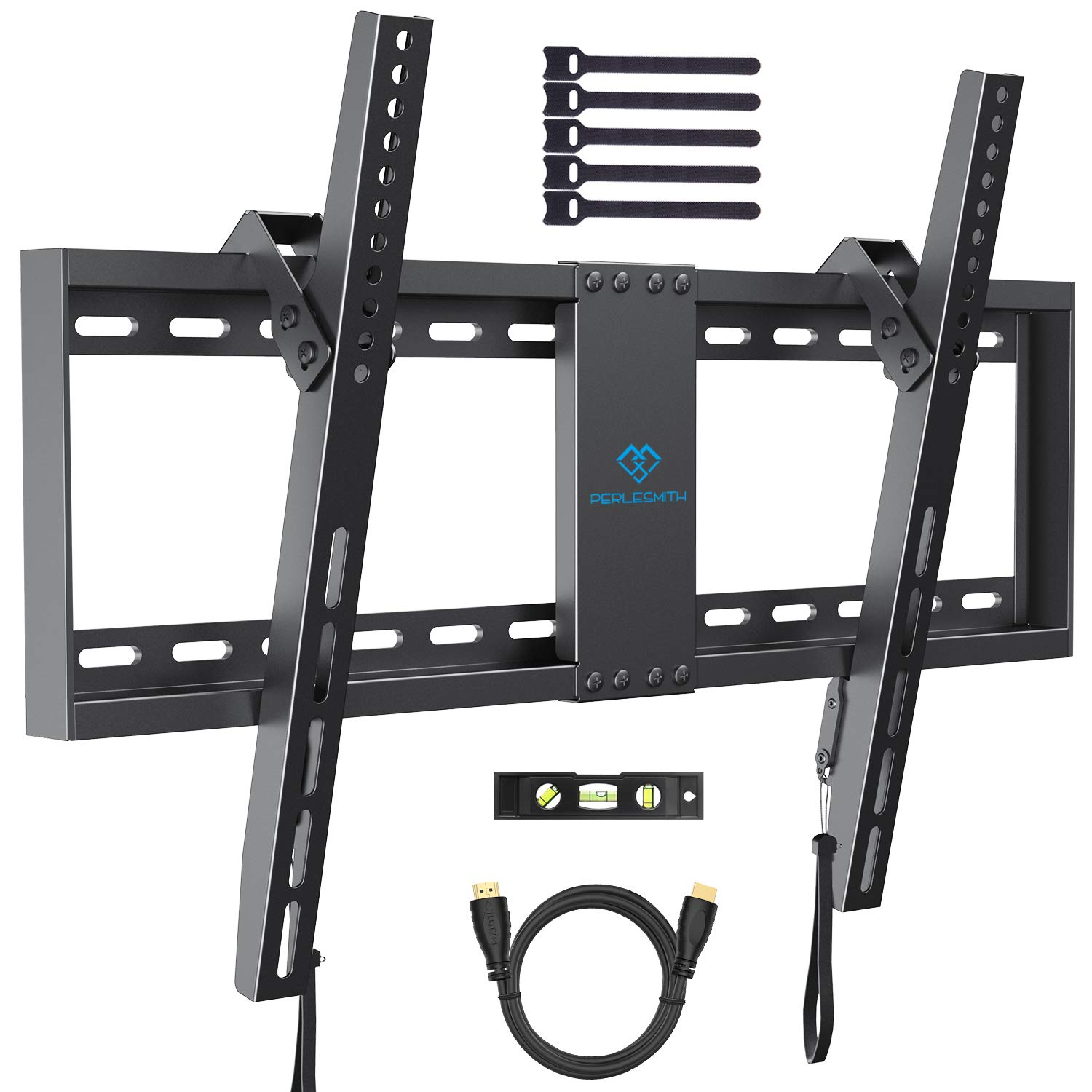 PERLESMITH Tilt Low Profile TV Wall Mount Bracket for Most 32-70 inch LED, LCD, OLED and Plasma Flat Screen TVs - Fits 16''- 24'' Wood Studs, Tilting TV Mount with VESA 600 x 400mm Holds up to132lbs by PERLESMITH