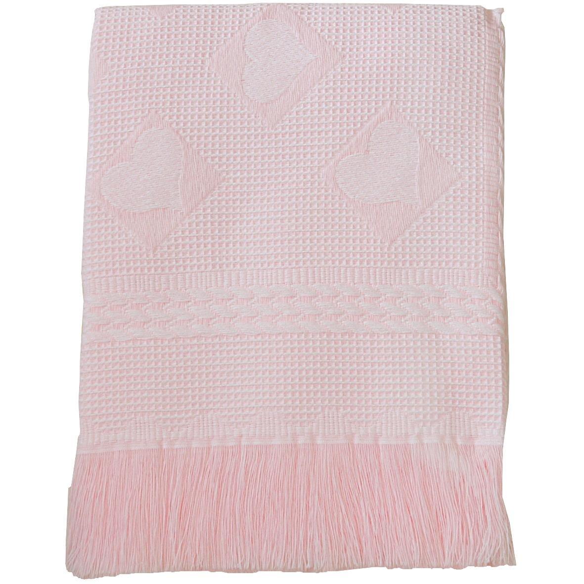 BabyPrem Large Soft White Acrylic Baby Shawl / Blanket - Hearts & Squares Design, 122 x 122 cm PY008