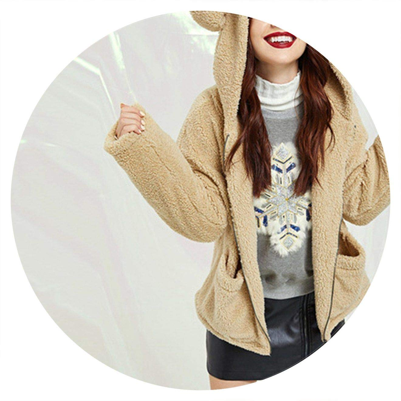 Khaki Summerlavender Preppy with Bear Ear Solid Pocket Zip Up Teddy Hoodie Jacket Thermal Campus Women Coat and Outerwear