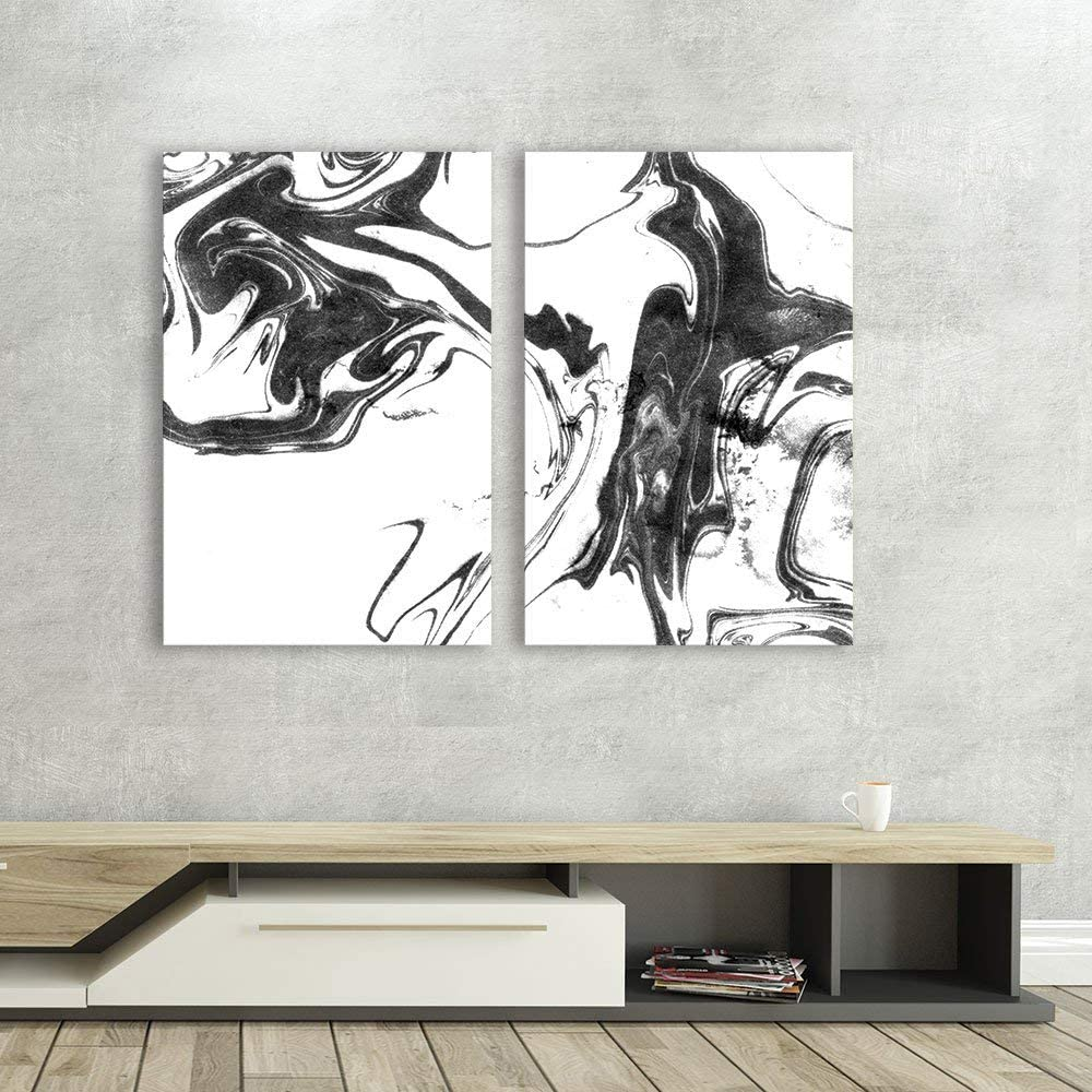 2 Panel Canvas Wall Art - Abstract Ink Splash on White Background - Giclee Print Gallery Wrap Modern Home Art Ready to Hang - 16
